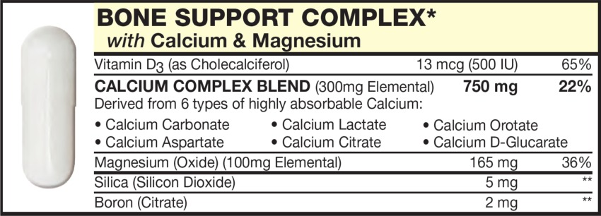 The White Capsule in the Vitamin Packet contains BONE SUPPORT COMPLEX with Calcium & Magnesium, Calcium Carbonate, Calcium Aspartate, Calcium Lactate, Calcium Citrate, Calcium Orotate, Calcium D-Glucarate, Magnesium