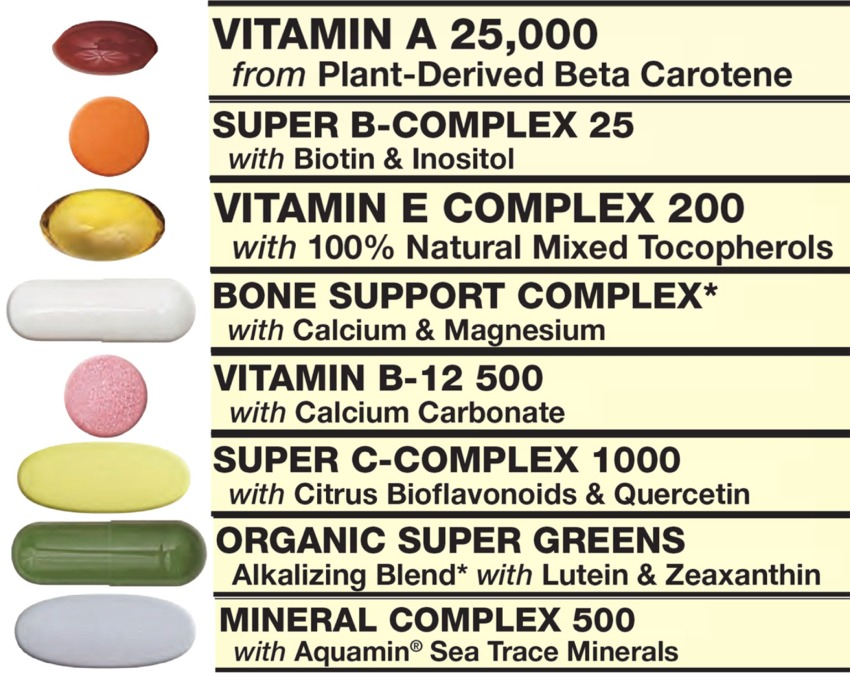 Formula One Vitamin Packet includes Vitamin A, B Complex, Vitamin E Complex, Bone Support Complex, Vitamin B-12, Vitamin C Complex, Organic Super Greens, Mineral Complex