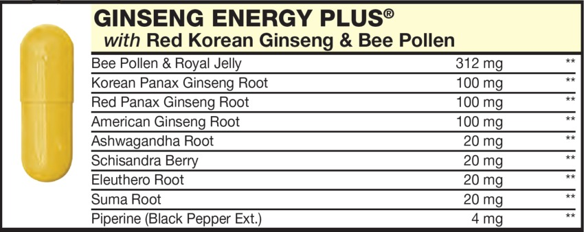 The Yellow Capsule in the Vitamin Packet contains Ginseng Energy Complex with Bee Pollen & Royal Jelly, Red Korean Ginseng, Bee Pollen, Korean Panax Ginseng Root, Red Panax Ginseng Root, American Ginseng Root, Ashwagandha Root, Schisandra Berry, Eleuthero Root, Suma Root, Piperine (Black Pepper Ext)