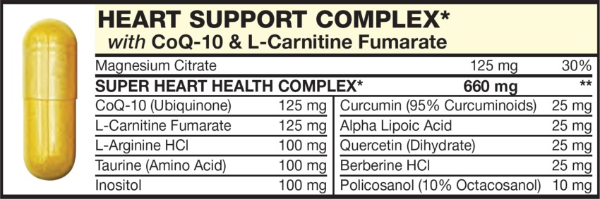 The Yellow capsule in the Vitamin Packet contains HEART SUPPORT COMPLEX with L-Arginine HCl; Taurine (Amino Acid), CoQ-10 (Ubiquinone), L-Carnitine Fumarate, Quercetin (Dihydrate), Berberine HCl, Curcumin (95% Curcuminoids), Alpha Lipoic Acid, Inositol, Policosanol (10% Octacosanol)