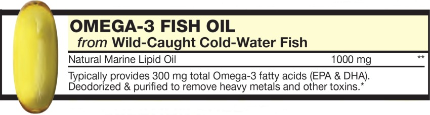 The Gold Softgel in the Vitamin Packet contains OMEGA-3 FISH OIL from Wild-Caught Cold-Water Fish, Omega-3 fatty acids (EPA & DHA), Deodorized & purified to remove heavy metals and other toxins