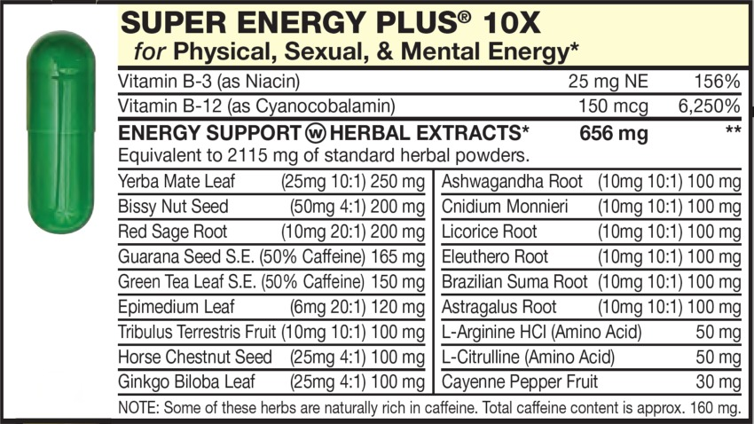 The Green  capsule in the Vitamin Packet contains Energy HERBAL EXTRACTS with Bissy Nut Seed, Red Sage Root, Guarana Seed, Green Tea Leaf, Epimedium Leaf, Yerba Mate Leaf, Ashwagandha Root, Cnidium Monnieri, Licorice Root, Eleuthero Root, Brazilian Suma Root, Tribulus Terrestris Fruit, Astragalus Root, Horse Chestnut Seed, Ginkgo Biloba Leaf, Cayenne Pepper Fruit