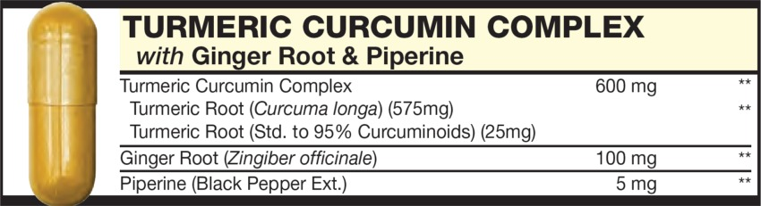 The Dark Yellow capsule in the Vitamin Packet contains TURMERIC CURCUMIN COMPLEX with Ginger Root, Piperine & Turmeric Root