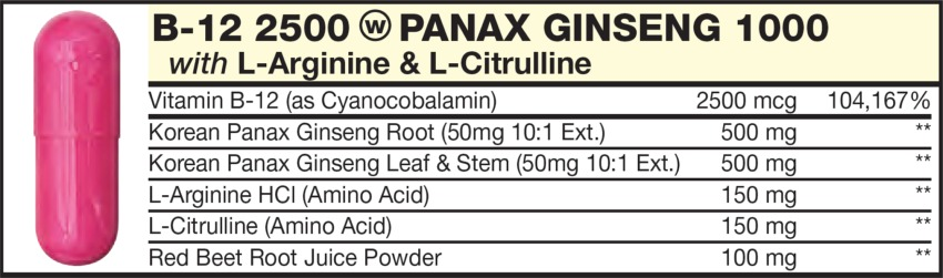 The Light Red  capsule in the Vitamin Packet contains Vitamin B-12 (as Cyanocobalamin), L-Arginine & L-Citrulline, Korean Panax Ginseng Root, Red Beet Root Juice Powder, Korean Panax Ginseng Leaf & Stem