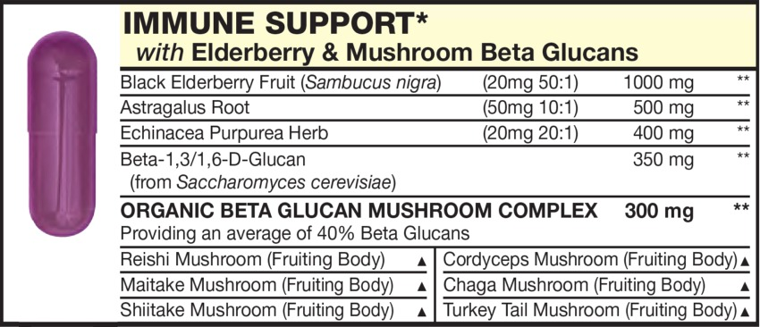 The Light Red capsule in the Vitamin Packet contains IMMUNE SUPPORT HERBS with Black Elderberry Fruit (Sambucus nigra), Astragalus Root, Echinacea Purpurea Herb, Shiitake Mushroom (Fruiting Body), Reishi Mushroom (Fruiting Body), Maitake Mushroom (Fruiting Body), Turkey Tail Mushroom (Fruiting Body), Beta-1,3/1,6-D-Glucan, Chaga Mushroom (Fruiting Body), Cordyceps Mushroom (Fruiting Body)
