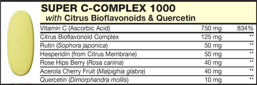 The Yellow Tablet in the Vitamin Packet contains C-COMPLEX with Citrus Bioflavonoids & Quercetin, Vitamin C' Rutin (Sophora japonica), Hesperidin (from Citrus Membrane), Rose Hips Berry (Rosa canina), Acerola Cherry Fruit (Malpighia glabra), Quercetin (Dimorphandra mollis)