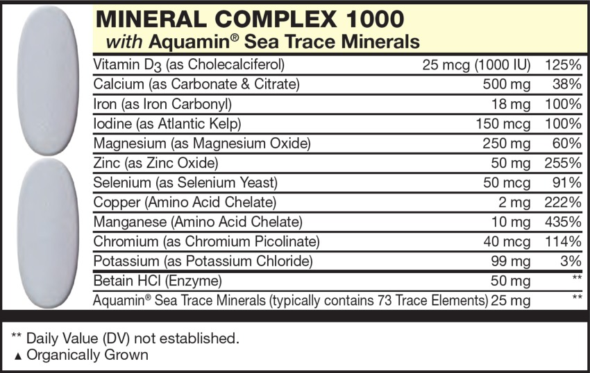 The grey Tablet in the Vitamin Packet contains MINERAL COMPLEX with Vitamin D3 (as Cholecalciferol), Calcium (as Carbonate & Citrate), Magnesium (as Magnesium Oxide), Iron (as Iron Carbonyl), Iodine (as Atlantic Kelp), Copper (Amino Acid Chelate, Zinc (as Zinc Oxide), Manganese (Amino Acid Chelate), Potassium (as Potassium Chloride), Chromium (as Chromium Picolinate), Selenium (as Selenium Yeast), Betain HCl (Enzyme),Sea Trace Minerals