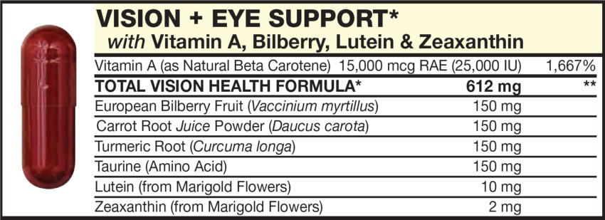 The Dark Red Capsulet in the Vitamin Packet contains VISION + EYE SUPPORT with Vitamin A (as Natural Beta Carotene), Bilberry, Lutein, & Zeaxanthin, Tumeric Root, Taurine, Carrot Root